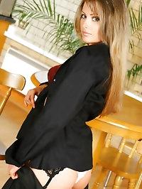 Gorgeous brunette Chrystal Lee removes her smart black..