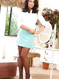 Raven haired secretary resides to her bedroom after a hard..