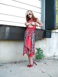 Darling in fiery hot high heels