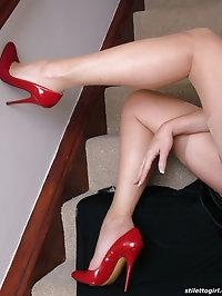 Hot leggy Milf Melinda flashes her shiny stockings and..