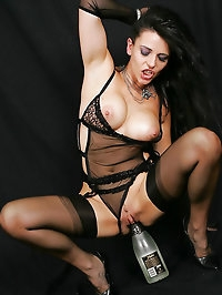 Slut rides on top of bottle