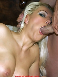 Sexy Leggy Lana rubs her pussy and then sucks on a stiff..