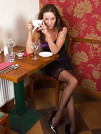Sexy 41 year old and elegant Marlyn enjoying a spoon with..