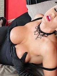 Stunning blonde Lucy Zara is very burlesque in her sexy..