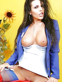 Horny bitch in sexy uniform