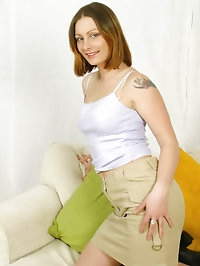 Jo May in miniskirt and tan holdups