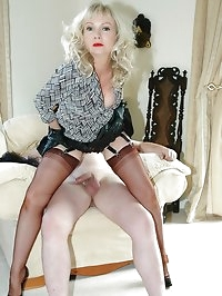 nylon-covered cock gets the glove treatment
