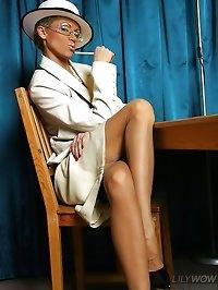 Luxury vintage whore in thinnest nylon stockings