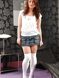 Cute Marissa tease her way from denim miniskirt and white..