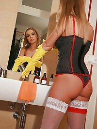 Hot blonde masturbates with gloves