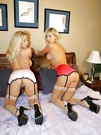 Girl Girl Stockings Garters, titties and 69 Action