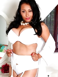 Danica ready for bed in white lingerie stockings and..
