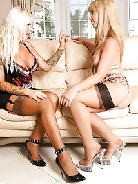 Annabelle - Horny lesbians fuck in vintage nylons and sexy..
