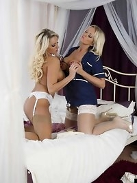 Two hot lesbian nurses give each other a very thorough..
