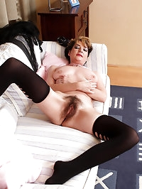 Lacy 42 year old Eszti from AllOver30 spreads her hairy..