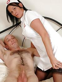 Busty nurse Morgan rides a patients cock
