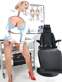Naughty nurse Lucy Zara is in the examination room raising..