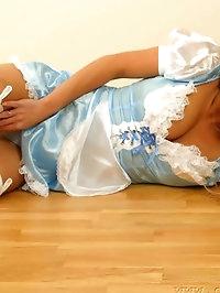 Satin dress with white holdups