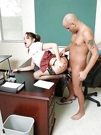 Cute little schoolgirl opens her legs and asks her teacher..