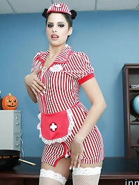 Adorable brunette in nurse outfit gets a slobby facial