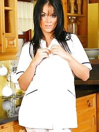 Sexy nurse Michelle in white stockings