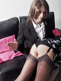 This horny crossdresser loves having Nylon Jane spank her..