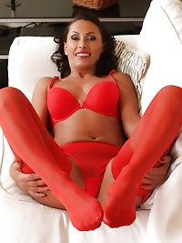 Sexy 36 year old Sandy K slips out of her hot red lingerie..