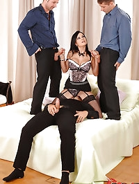 Hot boss lady enjoys a gang bang