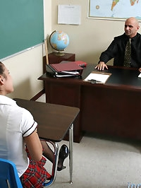 Sexy dark skinned student undresses for teacher and makes..