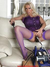Lana wearing purple stockings and riding a Fuck Machine