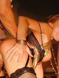 Beautiful blonde bondage fucked by two guys