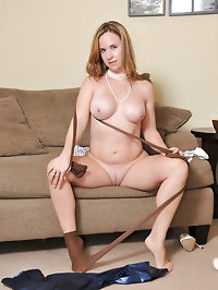 Blondie love nylon with white high heels