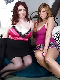 Jenny and Emily suck melons and toy fuck