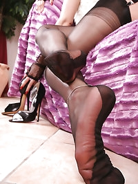 Nadja show her amazing long legs in black nylons and..