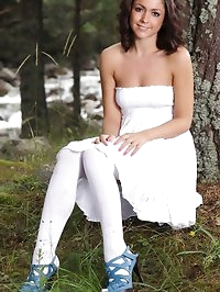 Bryoni-Kate in a strapless summer dress, white cotton..