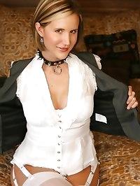 Naughty wife Desirae wearing slave collar