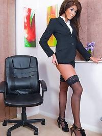 Sexy Secretary Megan Coxxx in Stockings Spreads for her..