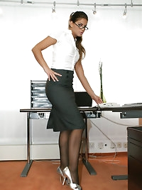 Hot office girl Defrancesca in black sheer stockings