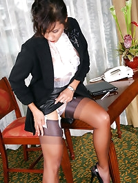 Astonishing mature doll is a teacher in stockings