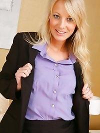 Beautiful office girl Maria S undresses in her bedroom..