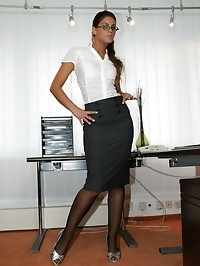 Hot office babe Miss Gallardo fucking at work