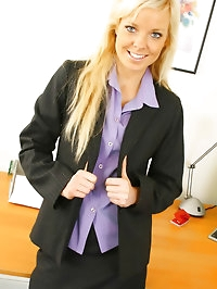Sue looks stunning in secretary outfit with black opaque..