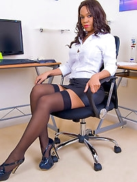 Nipply Satin Skirted Secretary Claudia Shows and Spreads..