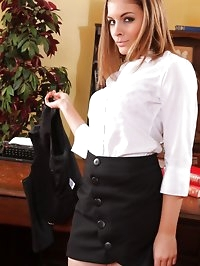 Saucy secretary sneaks into her boss's office and strips..