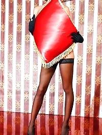 Glamour leggy Milf in black stockings