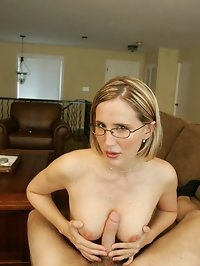 Sexy Blonde Wife Giving Handjob and Blow Job Taking a Facial