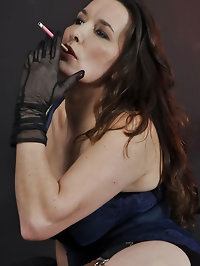 Sultry Nylon Jane looks gorgeous as she smokes a cigarette