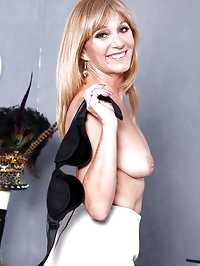 Horny business woman slips off her office attire and dips..