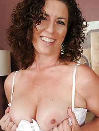 45 year old brunette housewife Tammy Sue in sexy white..
