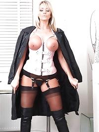 This stunning blonde is wearing some naughty lingerie with..